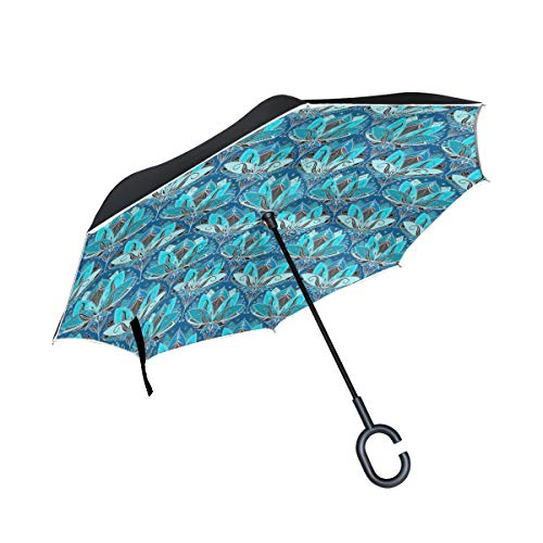LOIGEIDQ Double Layer Inverted Umbrella Cars Reverse Umbrella, Coloured Art Nouveau Lily Pattern Base Invert Windproof UV Protection Big Straight Umbrella for Car Rain Outdoor with C-Shaped Handle (Nouveau Lily)