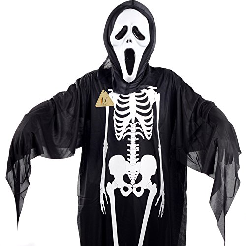 Halloween Skeleton Skull Screaming Ghost Costumes Mask Evil Devil Robe Clothes for Children (Devil Robe Child Costume)