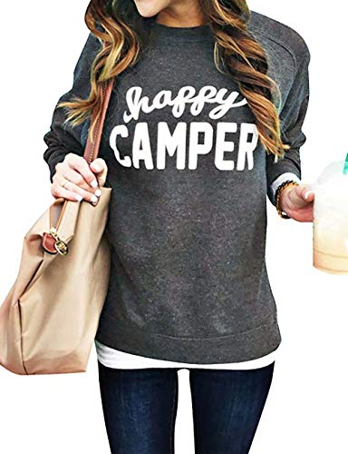 - Women Happy Camper Letter Print Sweatshirt Long Sleeve Casual Crew Neck Pullover Loose Tops Blouse Size XXL (Gray)