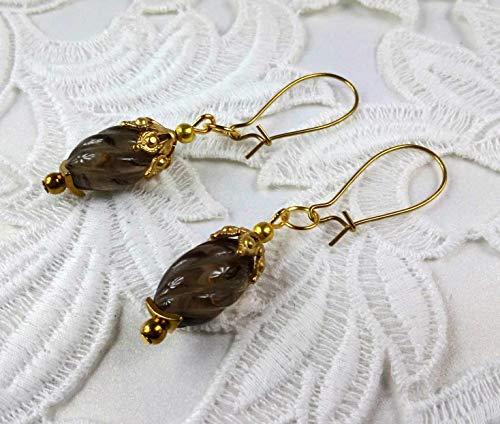 Earrings with Smoky Quartz cut twist Dangle Long earrings Victorian style earrings ()