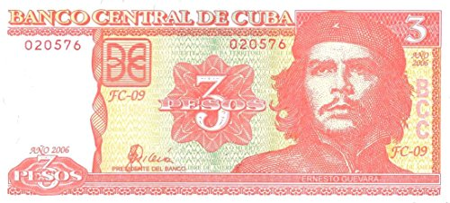 2004 CU FLAWLESS CUBA 3 PESOS w CHE GUEVARA (2nd Issue) CONSECUTIVE NUMBERS STILL AVAILABLE! 3 PESOS Gem Crisp Uncirculated