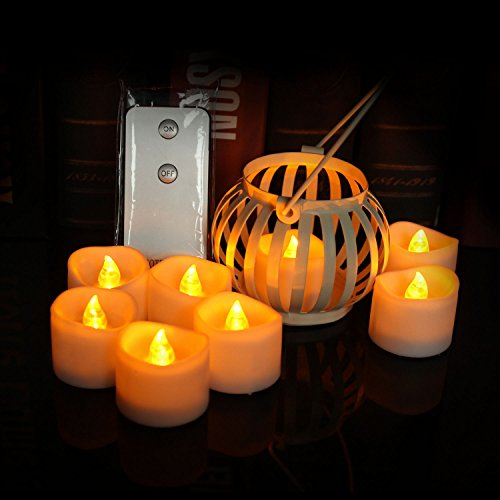 Led Candles Teallights Indoor with Remote, Set of 24 Flameless Candles Flickering for Halloween Thanksgiving Xmas Hanging Decorative Tree ( uneven ) (Line Out Christmas Tree)