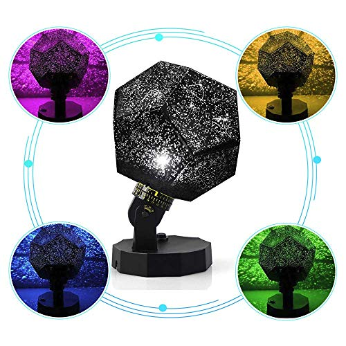 Suteck DIY LED Starry Night Light Baby Star Projector Star Sky Night Light with USB Cables Multicolor Changing Lighting Rotating Projection Lamp Gift for Kid Children Girl