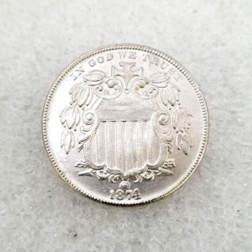 MarshLing 1874 Antique Liberty Five-Cents Coin - Great American Commemorative Old Coins - USA Uncirculated Morgan Dollars-Discover History of US Coins Perfect Quality