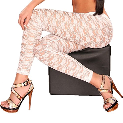 doublebabyjoy Women's Sexy Floral Lace Footless Leggings Pants Solid Color Hollow Out Stretchy Pantyhose Tights Stockings (White)