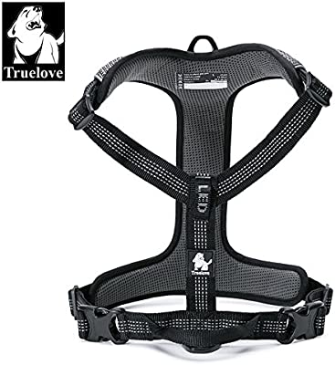 Dog Harness Outdoor Adventure II Reflective Vest with 2 Leash Attachments Matching Leash and Collar Available TLH6071 (Black XS Chest 38-46cm//15-18in