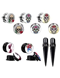 BodyJ4You Plugs and Tapers Gauges Kit Ear 12PC Skull Stretching Set Stainless Steel Screw Fit 4G-14mm