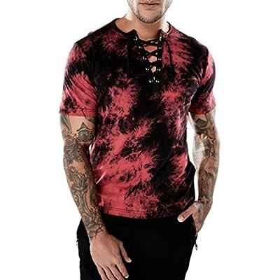 GREFER Men's Casual Slim V-Neck Bandages Short Sleeve T Shirt Top Blouse