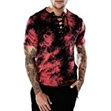 GREFER Men's Casual Slim V-Neck Bandages Short Sleeve T Shirt Top Blouse