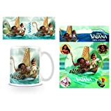 Set: Moana, With Maui On A Boat Trip Photo Coffee Mug (4x3 inches) And 1 Moana, Sticker Adhesive Decal (5x4 inches)