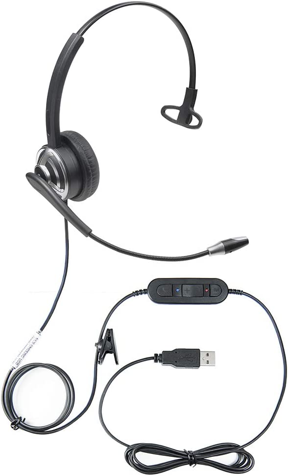 Professional USB Voice Recognition Headset with Noise Cancellation Microphone for Nuance Dragon Improving Voice to Text Accuracy During Dictation