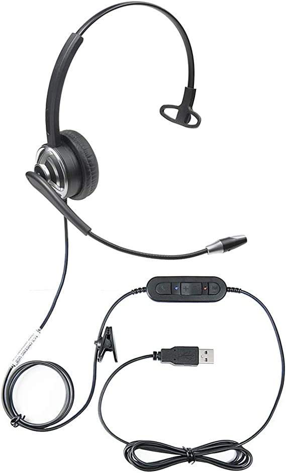 Andrea 351924 for Nuance Dragon NaturallySpeaking USB Headset with Noise Cancelling boom Microphone