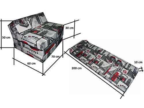 Natalia Spzoo Matelas lit Fauteuil futon Pliable Pliant Choix des Couleurs – Longueur 200 cm (LONDON2)