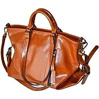 Egmy Fashion Womens Girl's Shoulder Bag Handbag Leather Retro Satchel Casual Bag Dual-Use Package Large Bag