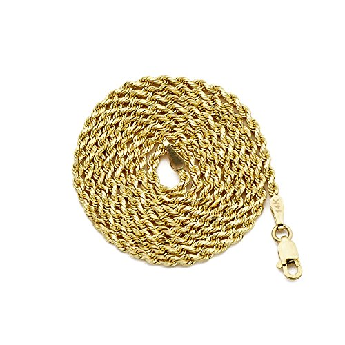 LoveBling 14K Yellow Gold 1.8mm Diamond Cut Rope Chain Necklace, Mens Womens with Lobster Lock (24) by LOVEBLING