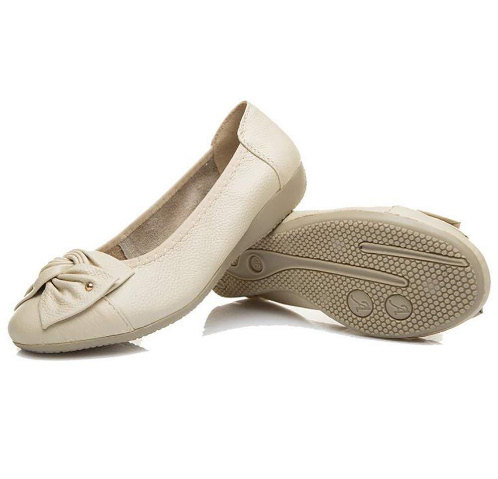 Fuxitoggo Leder Beiläufig Schuhe Damen Pure Farbe Gemütlich Flache Schuhe,Beige,US7.5 Schuhe,Beige,US7.5 Schuhe,Beige,US7.5 EU38 UK5.5 CN38 (Farbe   Beige Größe   US7.5 EU38 UK5.5 CN38) 845113