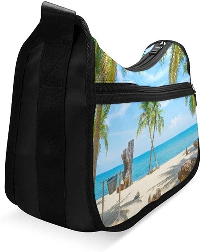 Ocean Beach With Coconut Palm Tree On Blue Sky Messenger Bag Crossbody Bag Large Durable Shoulder School Or Business Bag Oxford Fabric For Mens Womens