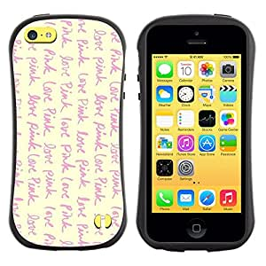 Fuerte Suave TPU GEL Caso Carcasa de Protección Funda para Apple Iphone 5C / Business Style love pink vignette yellow text writing