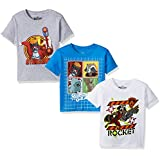 Marvel Little Boys' Guardians of the Galaxy 3-Pack Short Sleeve T-Shirt, Turq/H Grey/White, 7