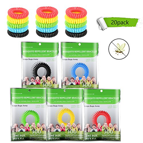 Hootech Mosquito Repellent Bracelet for Kids,20 Pack Non Toxic Waterproof Travel Insect Repellent,Natural Plant Based Oil Children Insect Bug Repellent Bands for Indoor Outdoor Protection