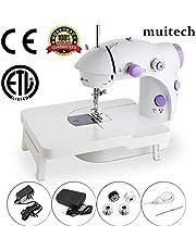 M Muitech Mini Máquina de Coser Portátil Automático Eléctronico Compacta Doble Velocidades Controlar Doble de Hilos Máquina de Coser Hogar Eléctrico con Pedal de Pie (Con Luz Para Iluminar la Aguja)