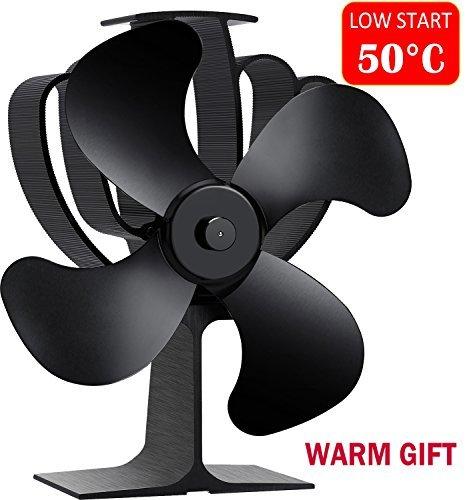 Aobosi Stove Fan Heat Powered Fireplace Fan for Wood/Log Burner/Fireplace Save 20% Fuel Cost, Lower Starting Temperature (50℃)-4 Blades Black (Blower Burning Fireplace Wood)