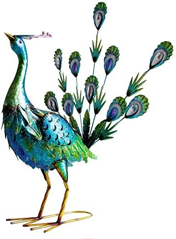 SAC SMARTEN ARTS Graceful Peacock Statues Outdoor Metal Art Decoration