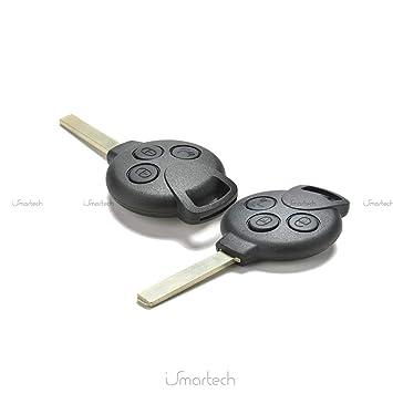 Caparazón dura para llave con control remoto, de 3 teclas, para coche Car Smart Fortwo 450 451 K Roadster City Coupe Cabrio Forfour Crossblade SM4: ...