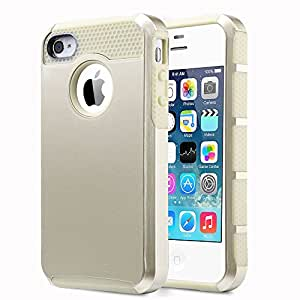Pandamimi ULAK Hybrid Soft TPU and Hard PC Case Cover for iPhone 4 4S with Screen Protector and Stylus (Champagne Gold/Champagne Gold)