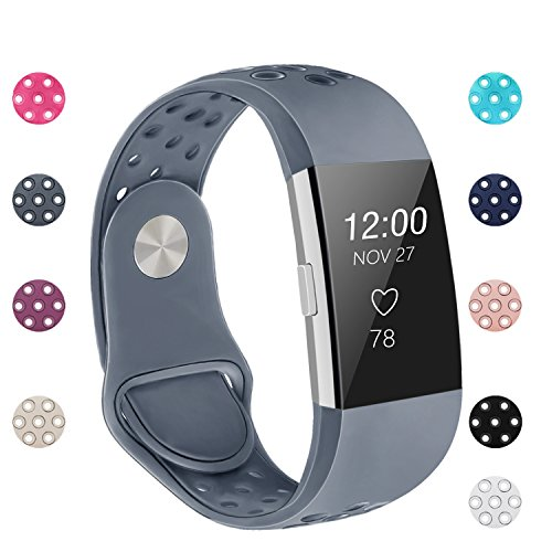 POY Replacement Bands Compatible for Fitbit Charge 2, Adjustable Breathable Wristbands with Air Holes Straps, Small Gray