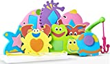 #4: Bath Toys for Toddlers - The Biggest Educational Foam Geometrical Figures for Baby with Mesh Bag Organizer - 8 Animals Puzzles with Geometric Shapes(16 items)-Safe Convenient and Easy for Kids