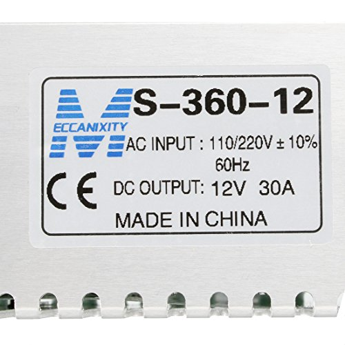 uxcell Switch Power Supply Driver S-360-12,AC 110V/220V to DC 12V 30A 360W for LED Strip Light by uxcell (Image #4)