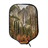 YOLIYANA Yosemite Durable Racket Cover,Yosemite Falls Trees Mountain Cliff Autumn National Park California Nature Print for Sandbeach,One Size