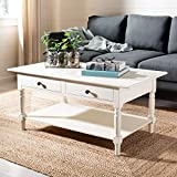 Cream and Wood Coffee Table Safavieh American Homes Collection Boris Distressed Cream Coffee Table