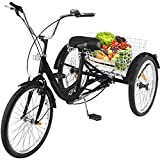 Happybuy 24 Inch Adult Tricycle Series 6/7 Speed Three Wheel Bike Adult Tricycle Trike Cruise Bike Size Basket for Recreation, Shopping,Exercise Men's Women's Bike (Black/1-Speed Foldable)