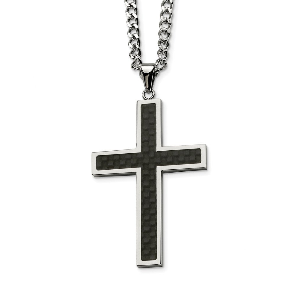 Stainless Steel Polished Black Carbon Fiber Cross Necklace 62x39mm 24 Inches