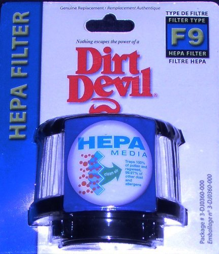 Dirt Devil Genuine Type F9 HEPA Filter, Fits Classic and Purpose for Pets Hand Vacuums (Replacement Dirt Type Devil)