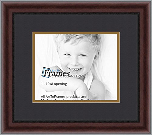 ArtToFrames Diploma Frame Mahogany and Burgundy With Beaded Lip with 1 - 8x10 Opening, Double-Multimat-719-89/596-N9590 (Mahogany Finished Wood Frame)