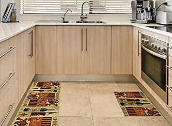Amazon.com: Anti-Bacterial Rubber Back Home and KITCHEN RUGS ...