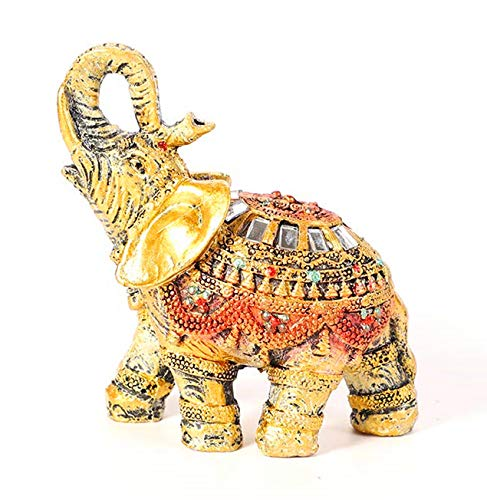 HOMERRY Feng Shui Retro Elephant Figurines with Trunk Up for Home Decor,Wealth Lucky Resin Elephant Sculpture and Statue (Resin Sculpture Elephant)