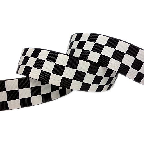 25yd 7/8quot Black Solid Grosgrain Ribbon White Race Checkerboard Printed Hairbow