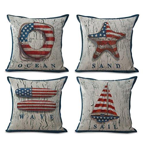 ULOVE LOVE YOURSELF Stars & Stripes Beach Pillow Covers 4 Pack Cotton Linen Coastal Throw Pillowcases-Starfish-Wave-Sail- Ocean Theme Cushion Cover 18 x 18 inch ()
