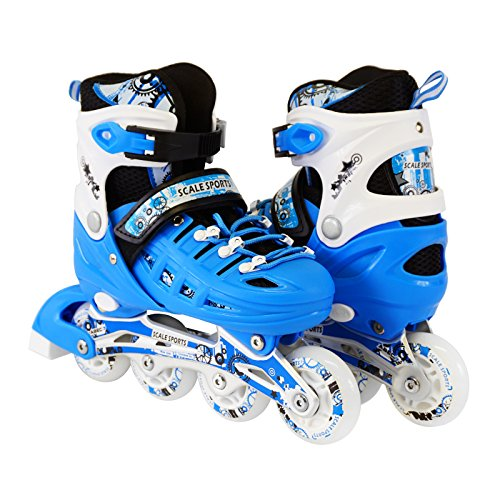 Scale Sports Kids Adjustable Inline Roller Blade Skates Light Blue Small Sizes Safe Durable Outdoor Featuring Illuminating Front Wheels 905