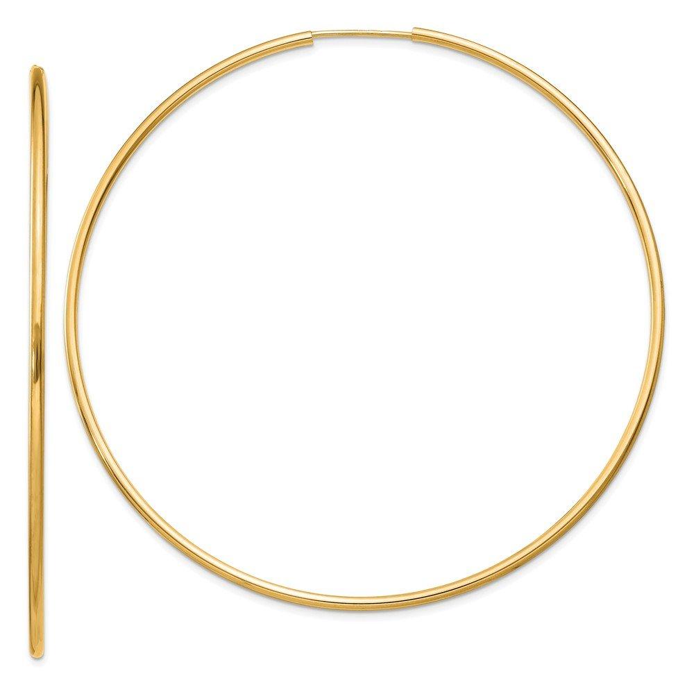 Jewel Tie 14k Yellow Gold 1.5mm Polished Round Endless Hoop Earrings