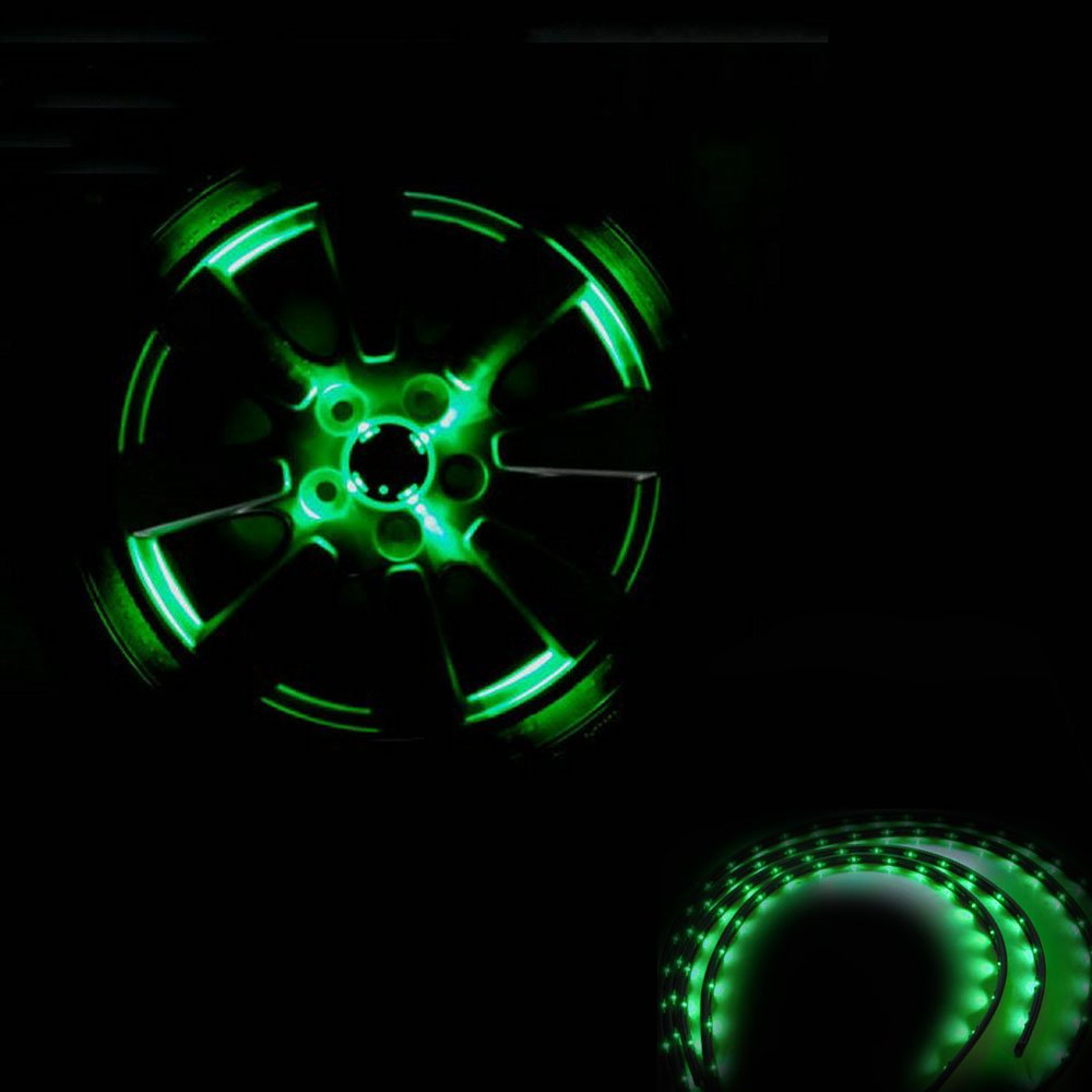 pack of 4 Zone Tech 30cm LED Car Flexible Waterproof Light Strip GREEN