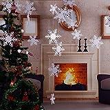 Decoraciones para fiestas de Navidad, 24 unidades, banderas de guirnaldas colgantes con diseño de copos de nieve en 3D, color blanco, decoración del hogar, día festivo, decoración de fiestas de año nuevo