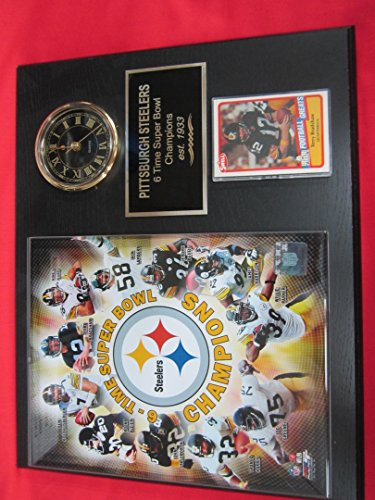 Pittsburgh Steelers 6 Time Super Bowl Champions Collectors Clock Plaque w/8x10 Photo and Card