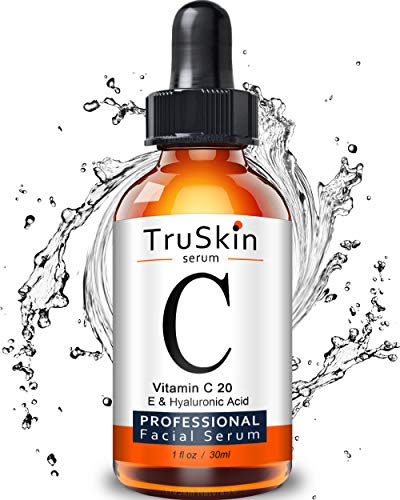 TruSkin Vitamin C Serum for Face, Topical Facial Serum with Hyaluronic Acid, Vitamin E, 1 fl oz (Vitamin C Serum Acne)