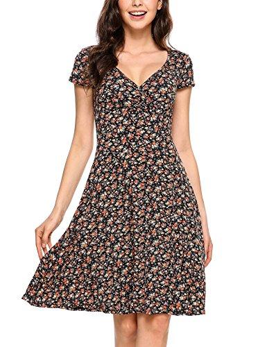 Grabsa Women's A Line Cap Sleeve V-Neck Elegant (Polyester Dress)