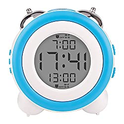 Egundo Large Numbers Digital Alarm Clock,Small Twin Bell Loud Alarm Clock,Large Display With Snooze and Night Light Battery Operated,Mini Cute Desk Clock for Nightstand Kids Heavy Sleepers Bedrooms